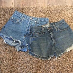 Levi & Guess cut-off jean shorts